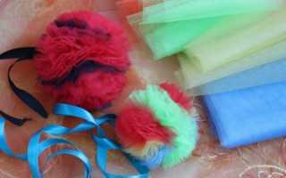 Шары из фатина. Помпоны из ткани и идеи их использования. Шарики на вилке