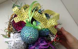 Украшение новогоднего шара из пенопласта. Шары на новый год своими руками