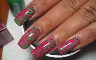 Водный рисунок на ногтях. Водный маникюр в домашних условиях