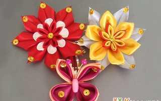 Цветы канзаши с круглыми из ленты. Канзаши: круглый лепесток