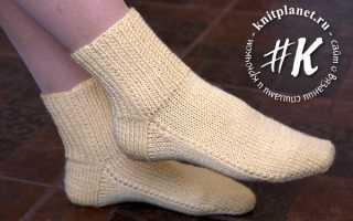 Очень ленивые носки на двух спицах