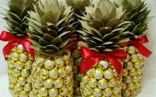 Ананас из вина и конфет. Как сделать ананас из конфет